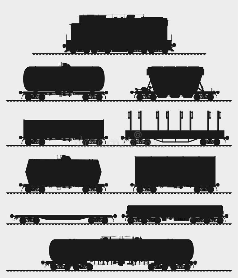 Reeks van trein met vrachtwagens stock illustratie
