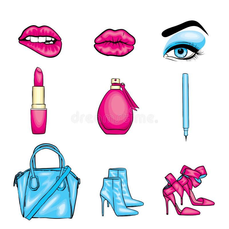 Reeks van trendy sticker Lippen, ogen met wimpers en wenkbrauwen, lippenstift, potlood, zak en hoge hielschoenen Vector illustrat royalty-vrije illustratie