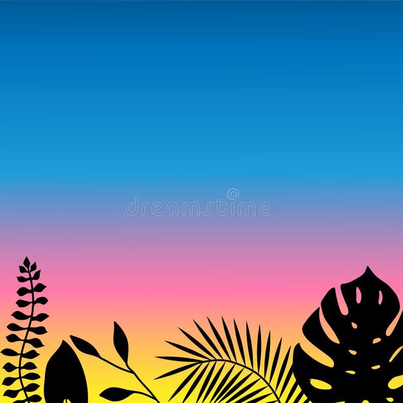 Reeks van tropisch op een mooie zonsondergangachtergrond voor banner signage van de reclametekst vector illustratie