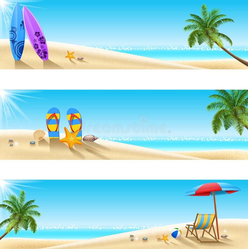 Reeks van tropisch strand Drie vector illustratie
