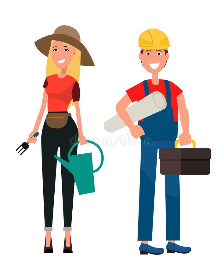 Reeks van Tuinman Woman en Bouwer Man Flat Design vector illustratie