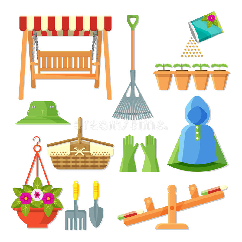 Reeks van tuinmateriaal en decoratieve toebehoren vectorillustratie vector illustratie