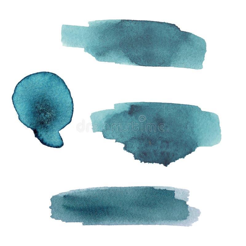 Reeks van turkooise kleurrijke waterverfplons op witte achtergrond Kleur het bespatten in het document royalty-vrije illustratie
