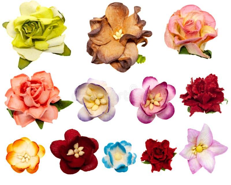 Reeks van twaalf gekleurde papierbloemen voor het plakken, geïsoleerd op witte achtergrond royalty-vrije stock foto's