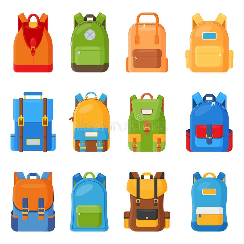 Reeks van twaalf gekleurde schoolrugzakken Onderwijs en studie vlakke inzameling, terug naar school, schooltasbagage, rugzak royalty-vrije illustratie