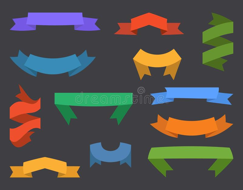 Reeks van twaalf linten en banners voor Webontwerp royalty-vrije illustratie