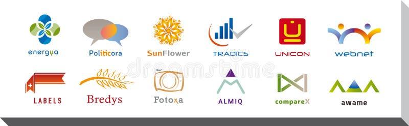 Reeks van Twaalf Pictogrammen en Logo Designs - Veelvoudige Kleuren en Elementen vector illustratie