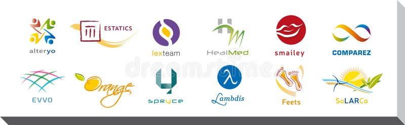 Reeks van Twaalf Pictogrammen en Logo Designs - Veelvoudige Kleuren en Elementen stock illustratie