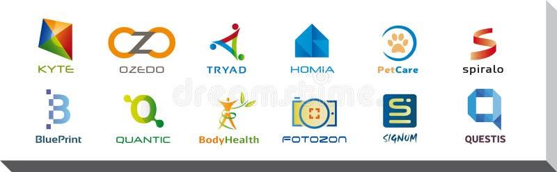 Reeks van Twaalf Pictogrammen en Logo Designs - Veelvoudige Kleuren en Elementen royalty-vrije illustratie