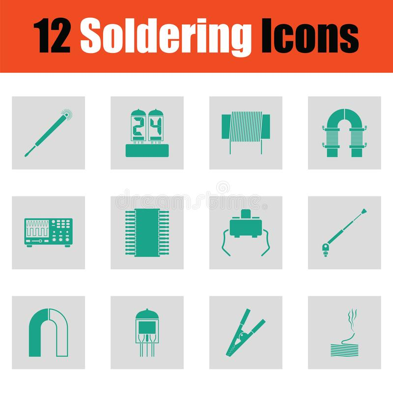 Reeks van twaalf solderende pictogrammen stock illustratie