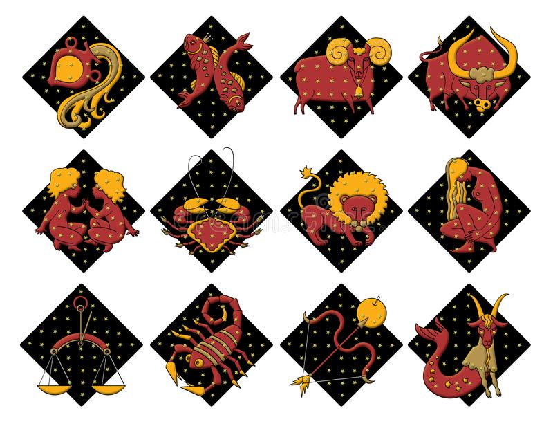 Reeks van twaalf tekens van de dierenriem, op zwarte diamantachtergrond Voorspelling van de toekomst Ge?soleerdj op witte achterg royalty-vrije illustratie
