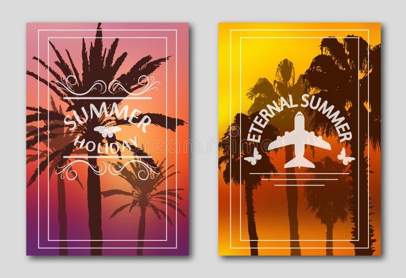 Reeks van twee affiches, silhouetten van palmen tegen de hemel Embleem van het vliegtuig en de vlinders vector illustratie