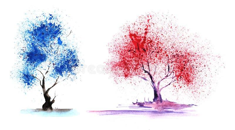 Reeks van twee elementen Abstracte kleur-bomen met een prachtige blauwe en rode kroon royalty-vrije illustratie