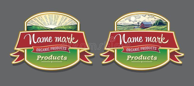 Reeks van twee etiketten royalty-vrije illustratie