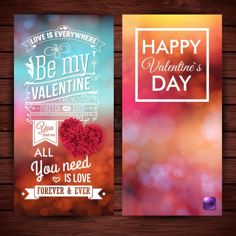 Reeks van twee feestelijke, kleurrijke kaarten van de Valentijnskaartendag royalty-vrije illustratie