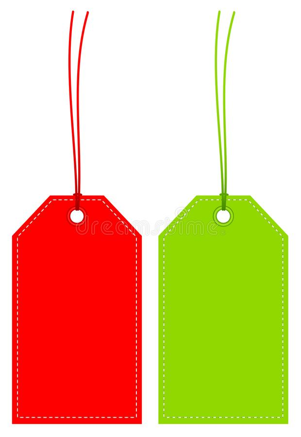 Reeks van twee Hoekige Hangtags Rood en Groen met Naad vector illustratie