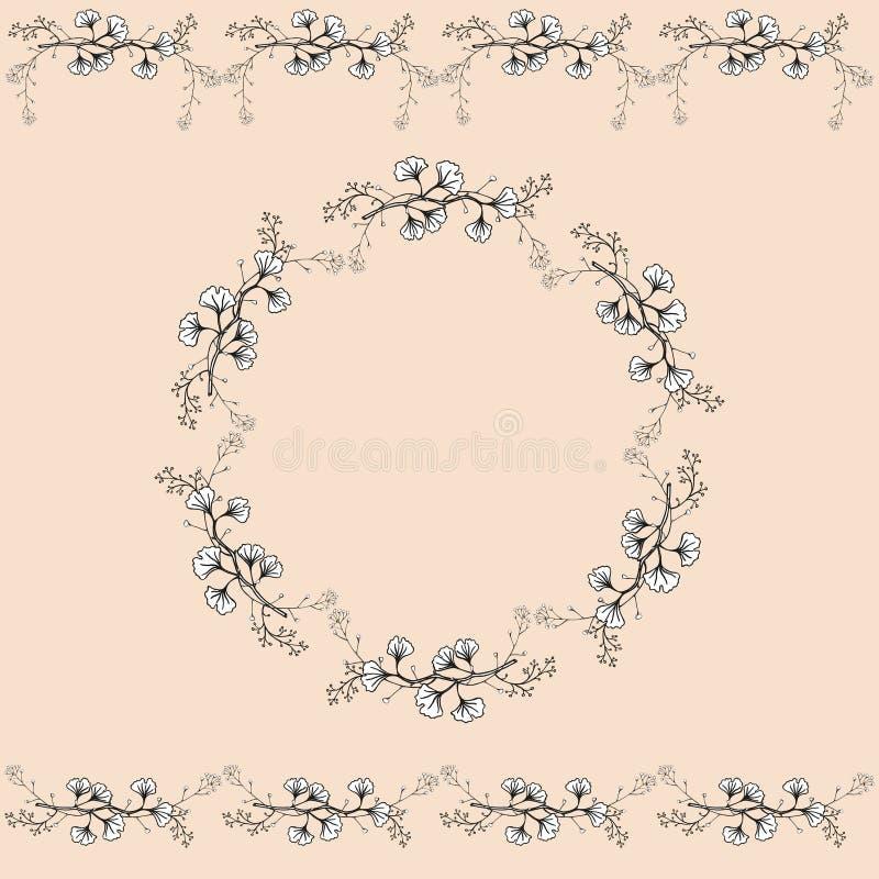 Reeks van twee naadloze horizontale ornamenten en uitstekende openwork kroon Openwork zwart-witte met de hand gemaakte vector geï royalty-vrije illustratie