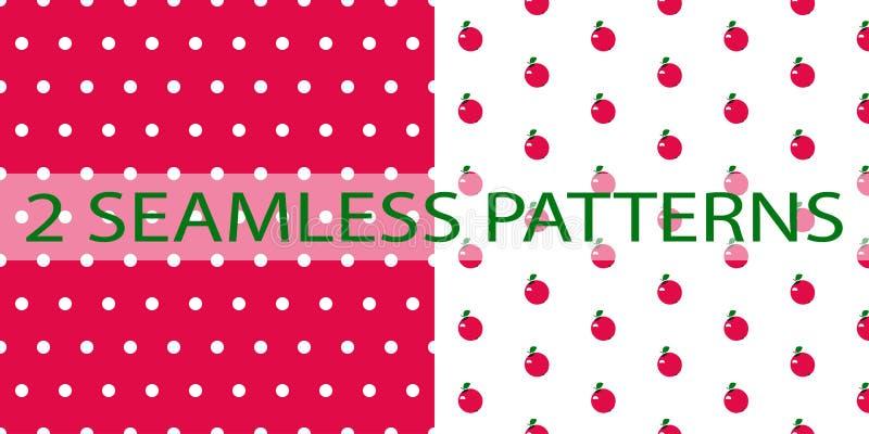 Reeks van twee naadloze patronen in rode kleur royalty-vrije illustratie