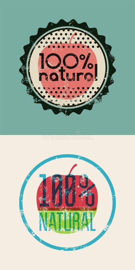 Reeks van twee Natuurlijke etiketten 100% Grunge rubberzegel voor 100 percenten natuurlijk product Vector ontwerp Eps 10 vector illustratie