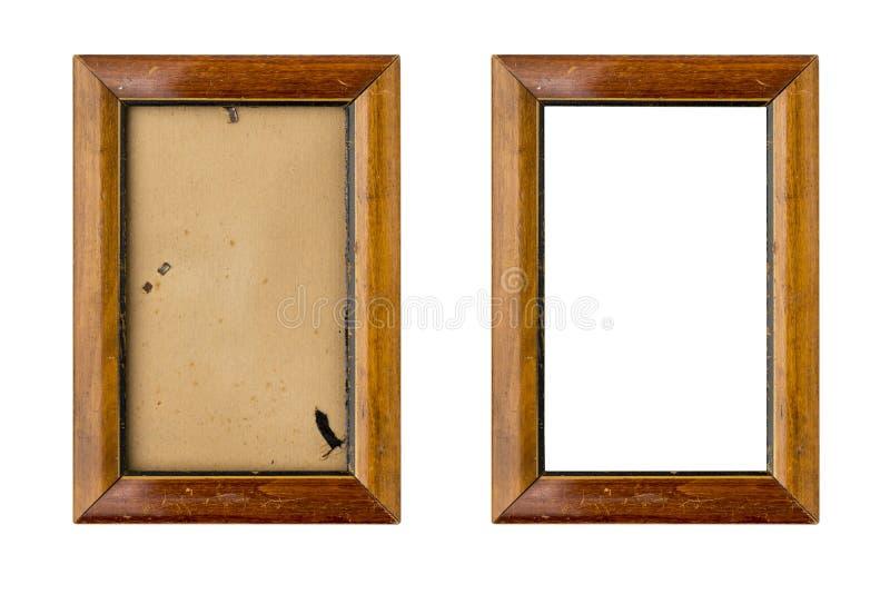 Reeks van twee oude houten omlijstingen met passepartout stock afbeeldingen