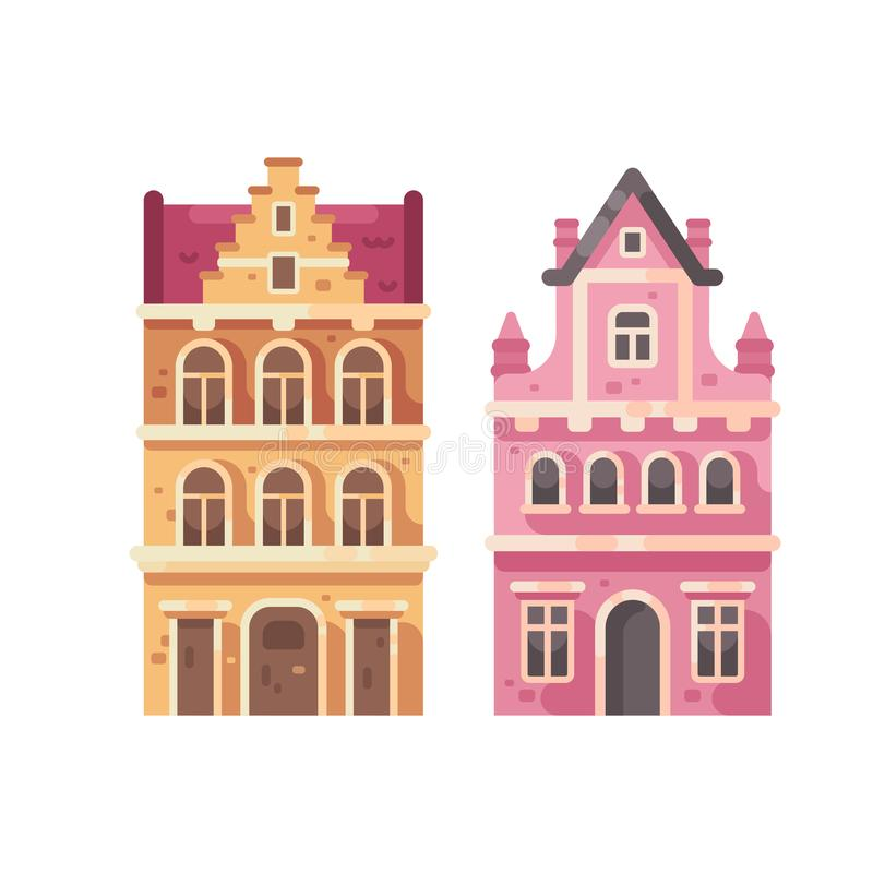 Reeks van twee oude stadsgebouwen De vlakke illustratie van huisvoorgevels vector illustratie