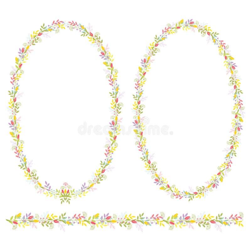 Reeks van twee ovale kaders en horizontaal ornament met bloemen en takken met bladeren voor feestelijk ontwerp en decoratie Ge vector illustratie