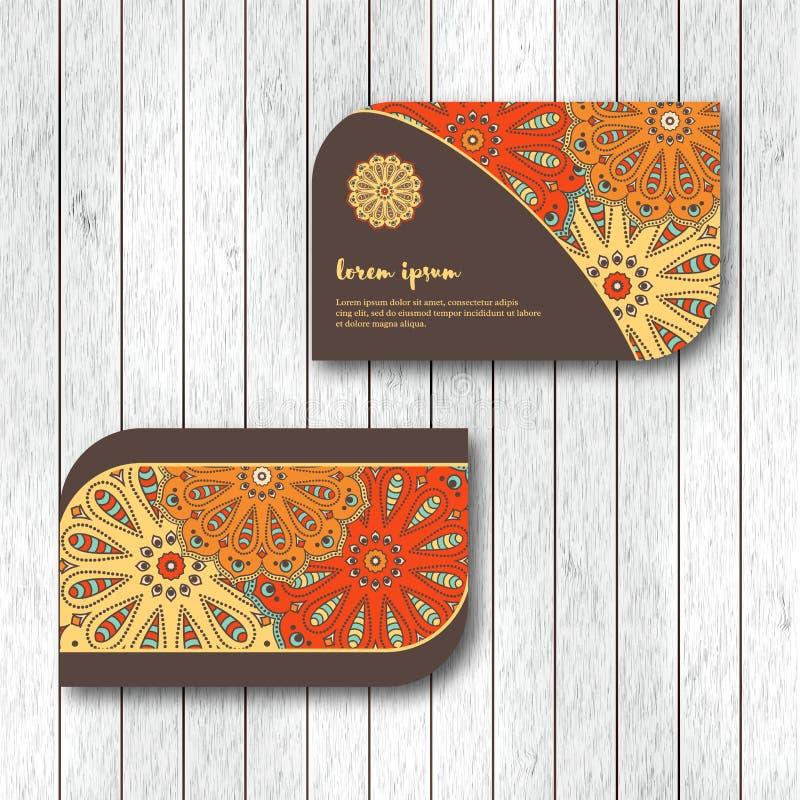 Reeks van twee sier bloemenmandalakaarten, het bezoeken malplaatje stock illustratie