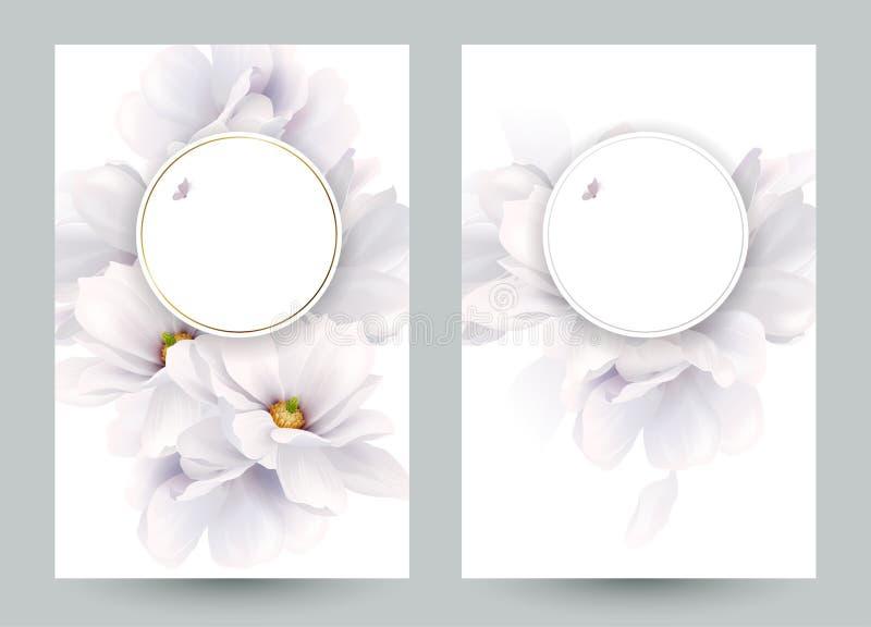 Reeks van twee uitnodiging of gelukwenskaarten met elegante bloemsamenstelling Bloeiende witte gevormde magnolia's royalty-vrije illustratie