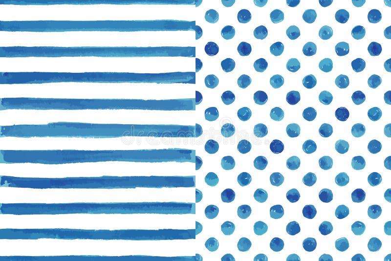 Reeks van twee waterverf naadloze patronen royalty-vrije illustratie