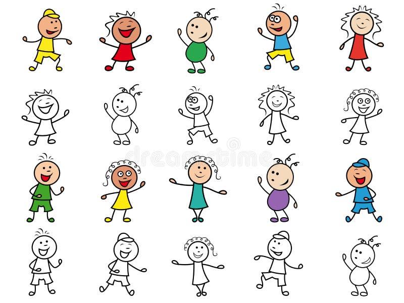 Reeks van twintig beeldverhaal vrolijke karakters stock illustratie