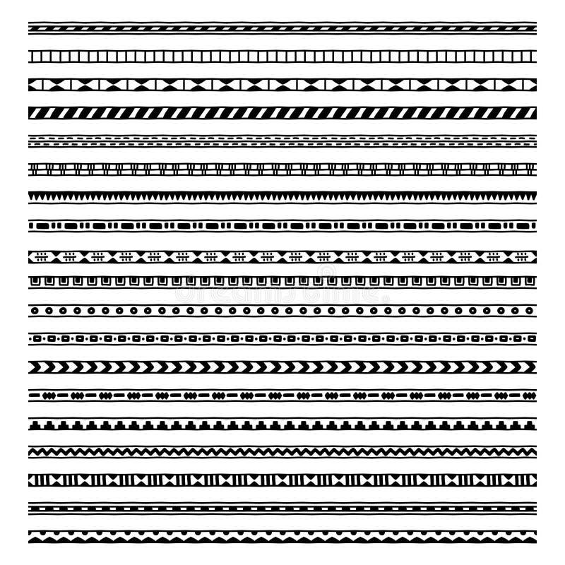 Reeks van twintig etnisch decoratief elementenontwerp vector illustratie