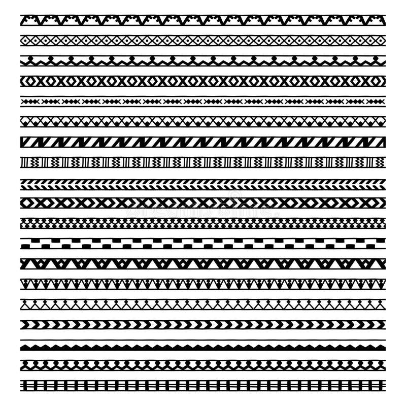 Reeks van twintig etnisch decoratief elementenontwerp stock illustratie