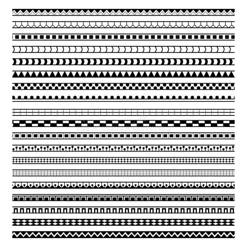 Reeks van twintig geometrische etnische borstels stock illustratie