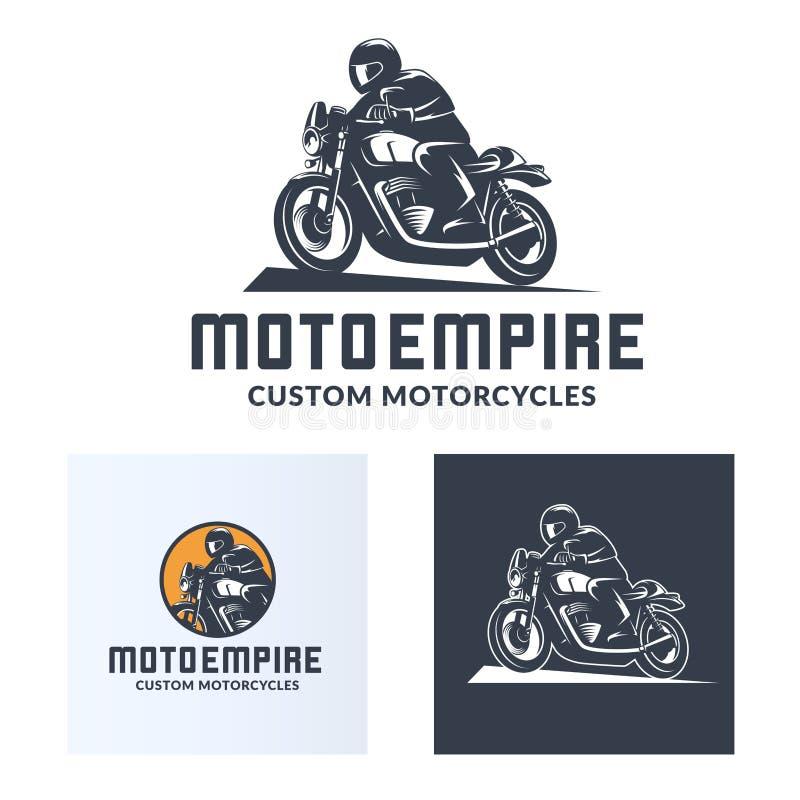 Reeks van uitstekend de motorfietsembleem van de koffieraceauto royalty-vrije illustratie
