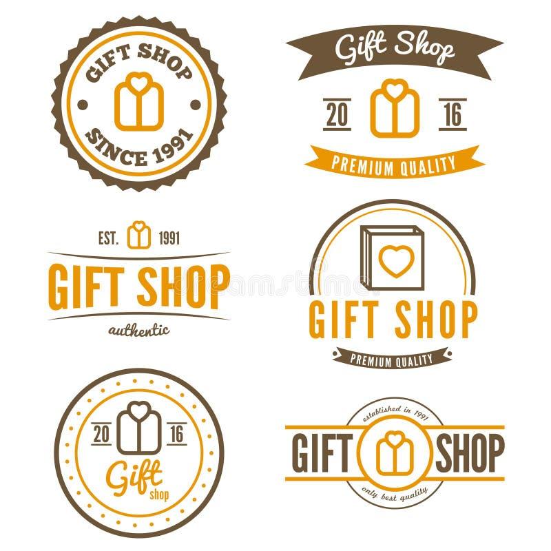 Reeks van uitstekend embleem, etiket, kenteken en logotype vector illustratie
