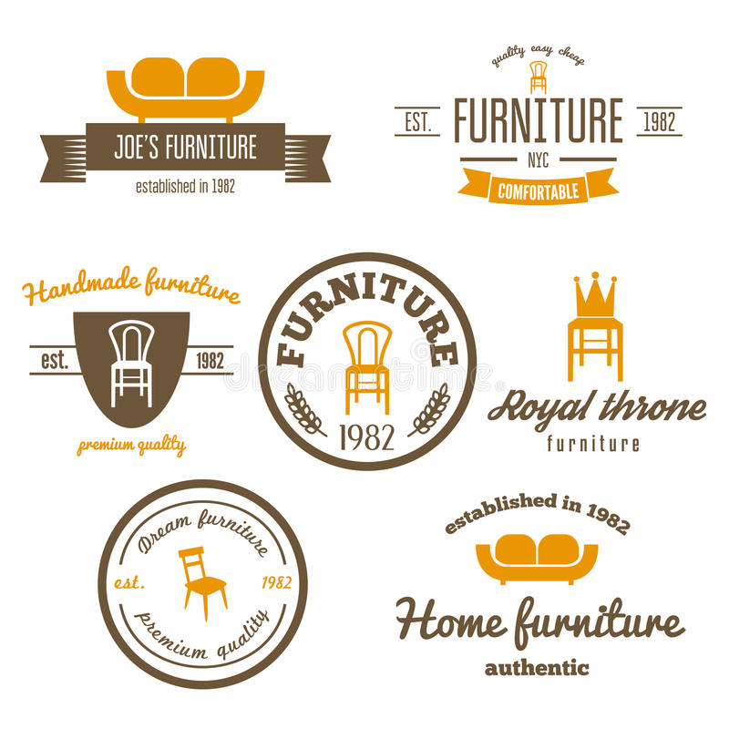 Reeks van uitstekend embleem, kenteken, embleem en logotype stock illustratie