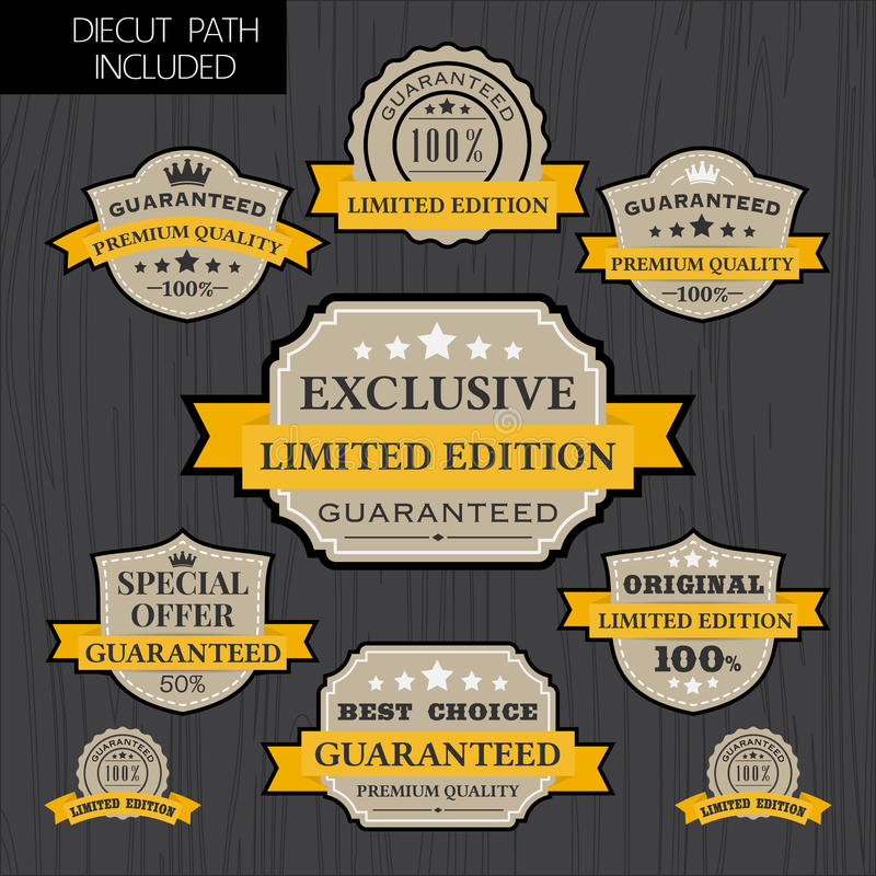 Reeks van uitstekend etiketontwerp met geel lintmalplaatje stock illustratie