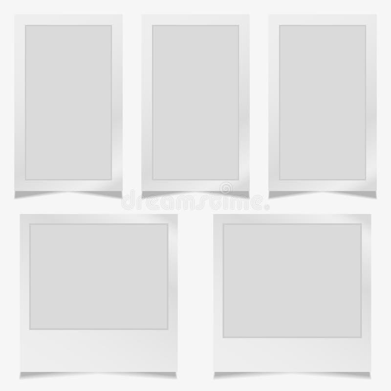Reeks van uitstekend fotokader met plakband Vectorillustratie Eps10 met plakband Photorealistic vectormodellen op a stock illustratie
