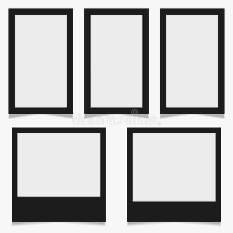 Reeks van uitstekend fotokader met plakband Vectorillustratie Eps10 met plakband Photorealistic vectormodellen op a vector illustratie