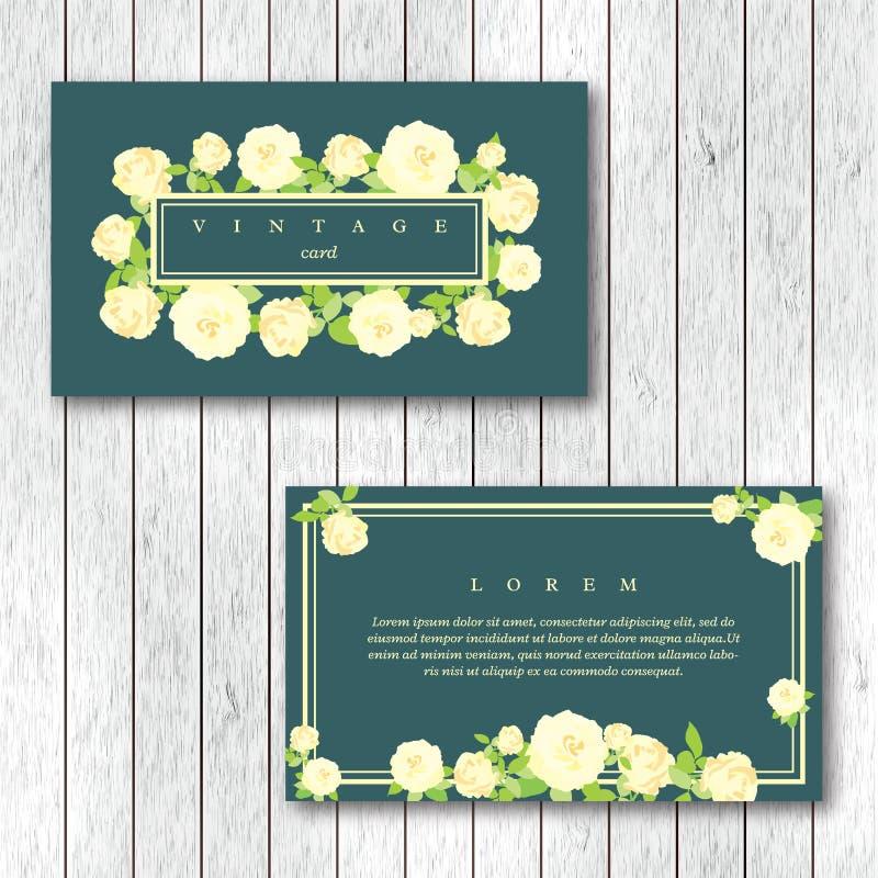 Reeks van uitstekend horizontaal adreskaartjesmalplaatje met het bloeien stock illustratie
