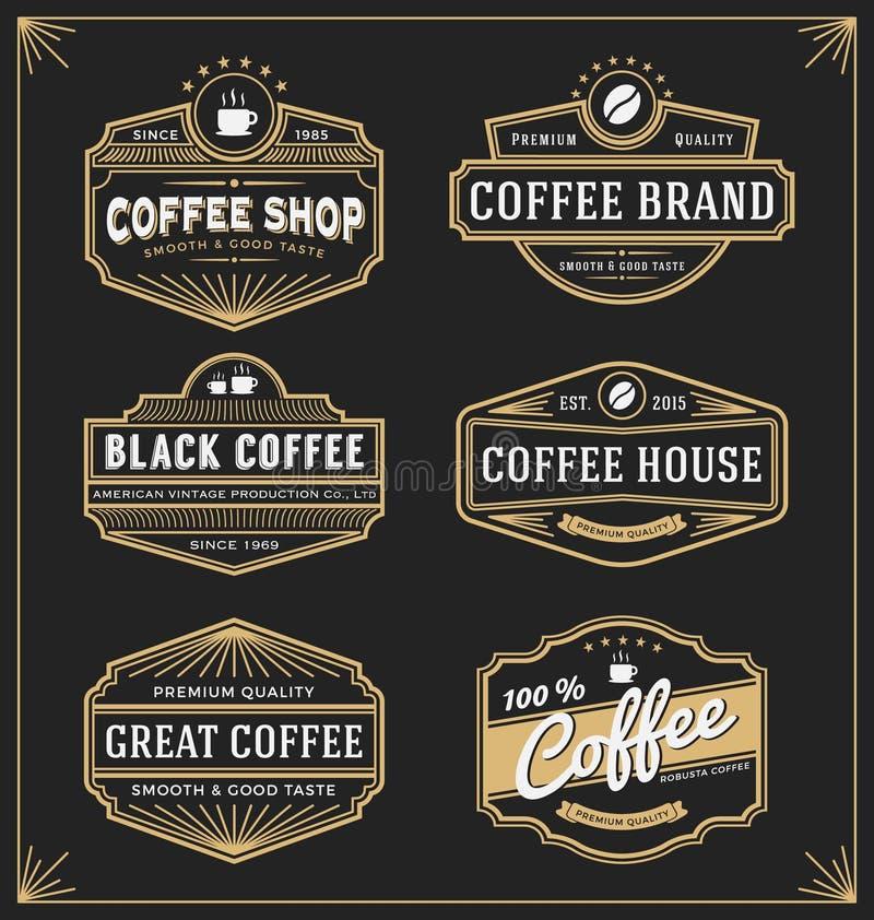 Reeks van uitstekend kaderontwerp voor etiketten, banner stock illustratie