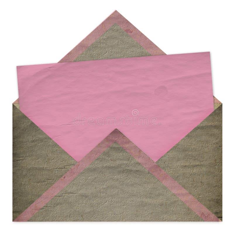 Reeks van uitstekend roze document voor gelukwens stock foto