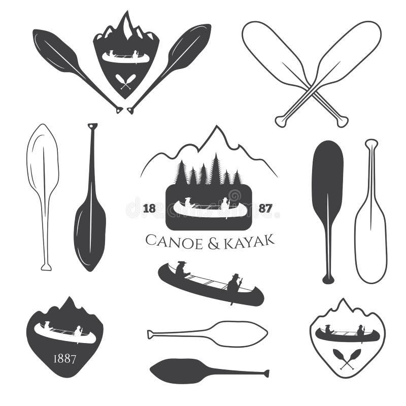 Reeks van uitstekende berg, het rafting, het kayaking, het paddelen, canoeing c royalty-vrije illustratie
