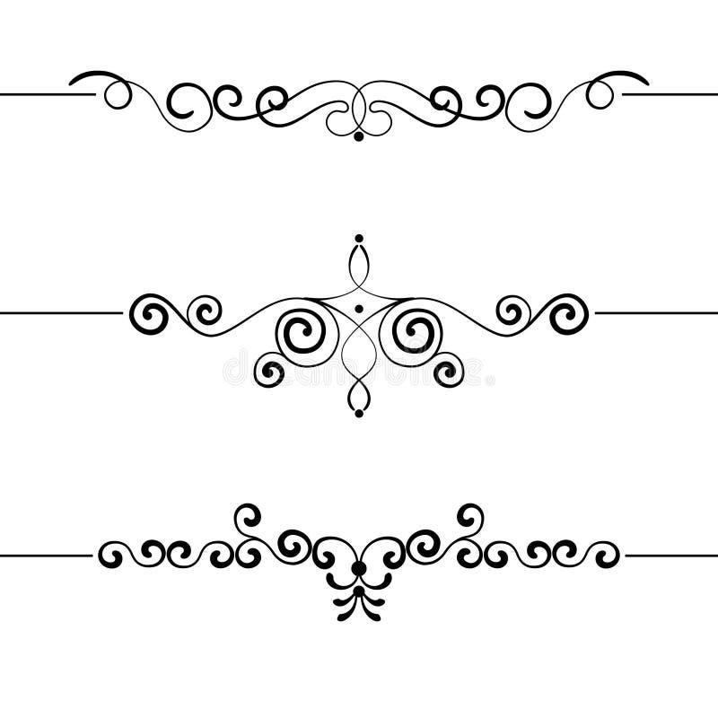 Reeks van uitstekende decoratieve krullen, wervelingen, monogrammen en kalligrafische grenzenvector royalty-vrije stock afbeelding