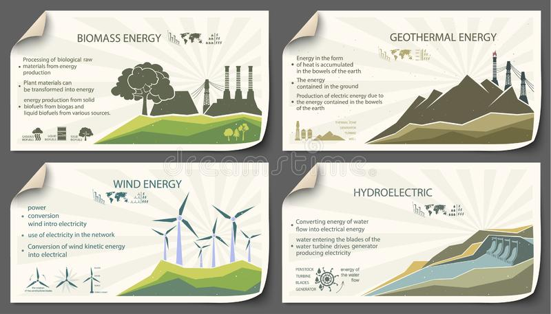 Reeks van uitstekende duurzame energieinfographics vector illustratie