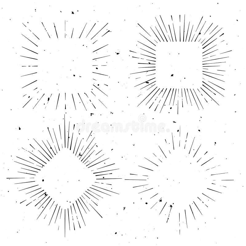 Reeks van uitstekende geregeld en ruit gestalte gegeven hand getrokken straalkaders vector illustratie