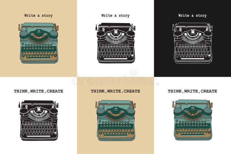 Reeks van 6 uitstekende kaarten met schrijfmachines stock illustratie