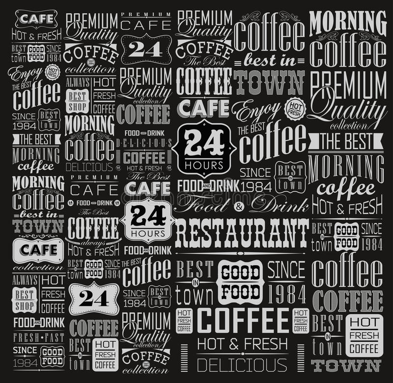 Reeks van Uitstekende Retro Koffie stock illustratie