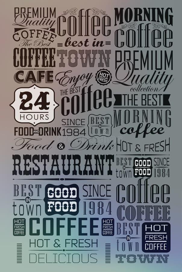 Reeks van Uitstekende Retro Koffie royalty-vrije illustratie