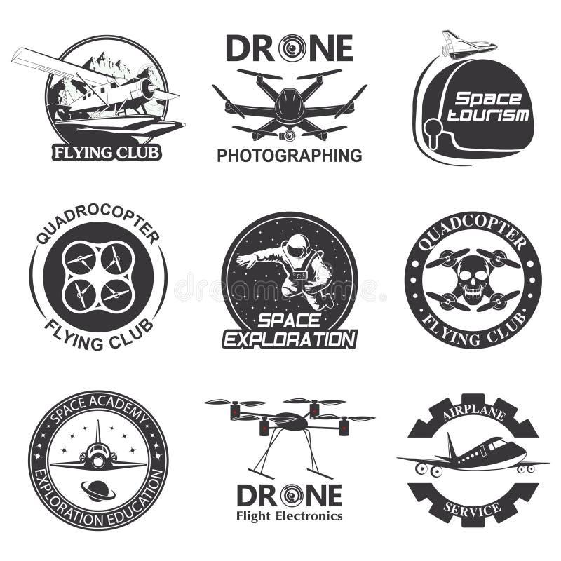 Reeks van uitstekende ruimte, hommel, de emblemen van de luchtvaartkundevlucht, etiketten, kentekens royalty-vrije illustratie